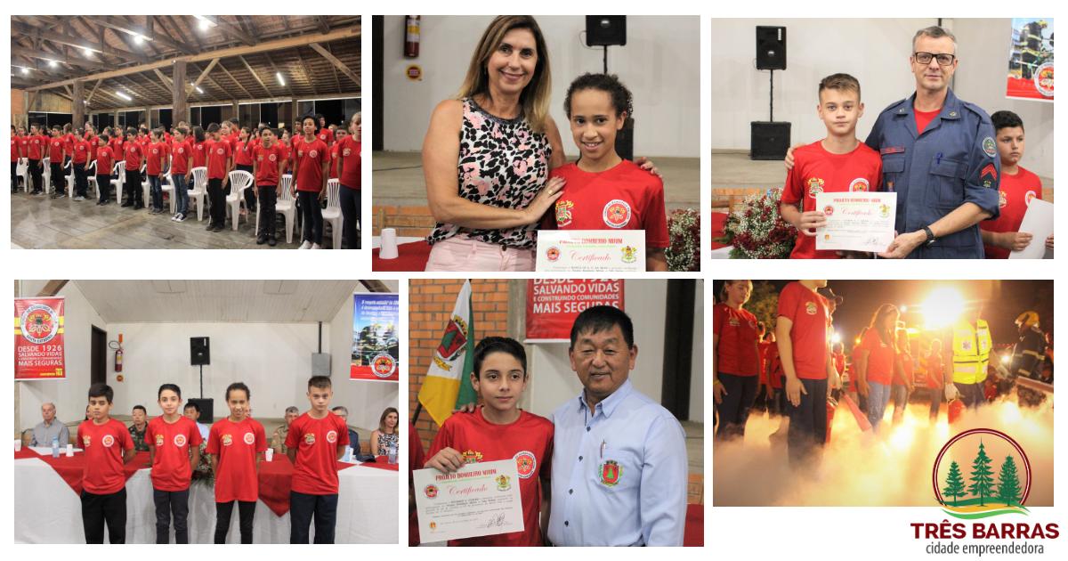 177 estudantes recebem certificados por conclusão de curso de Bombeiro Mirim em Três Barras