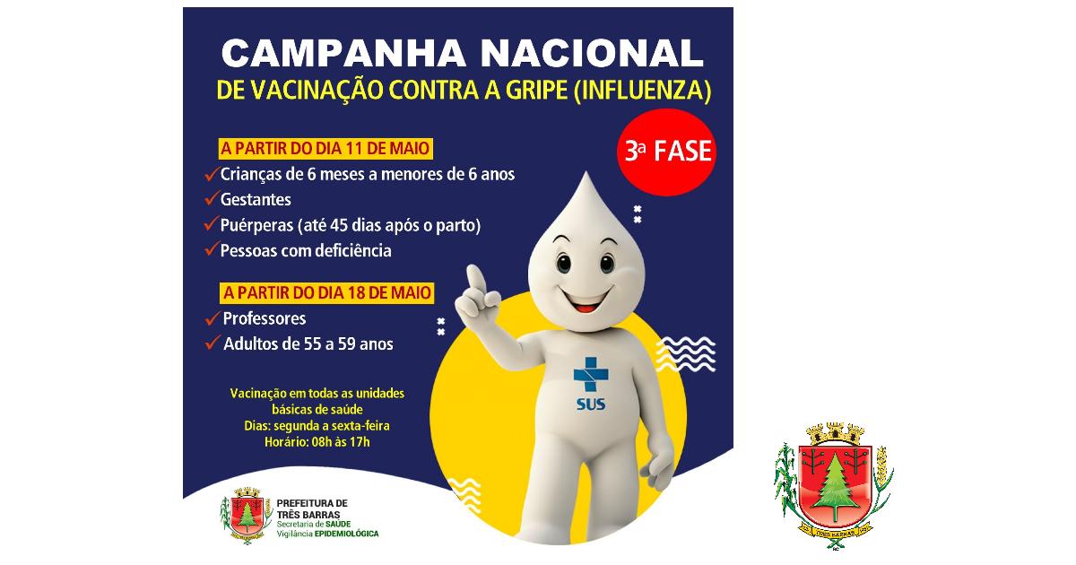 51,53% do público alvo está vacinado contra a gripe em Três Barras; Terceira fase começa na próxima segunda