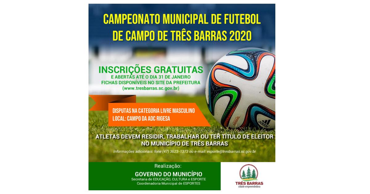 Abertas as inscrições para o Campeonato de Futebol de Campo de Três Barras 2020