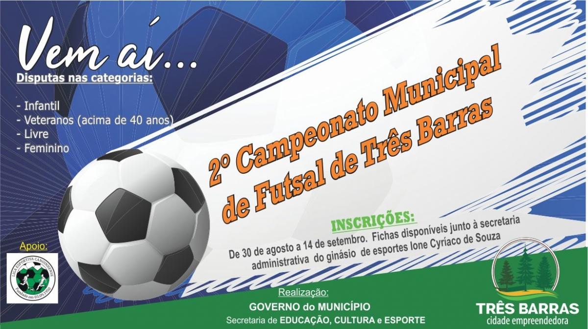 Abertas as inscrições para o Campeonato Municipal de Futsal de Três Barras