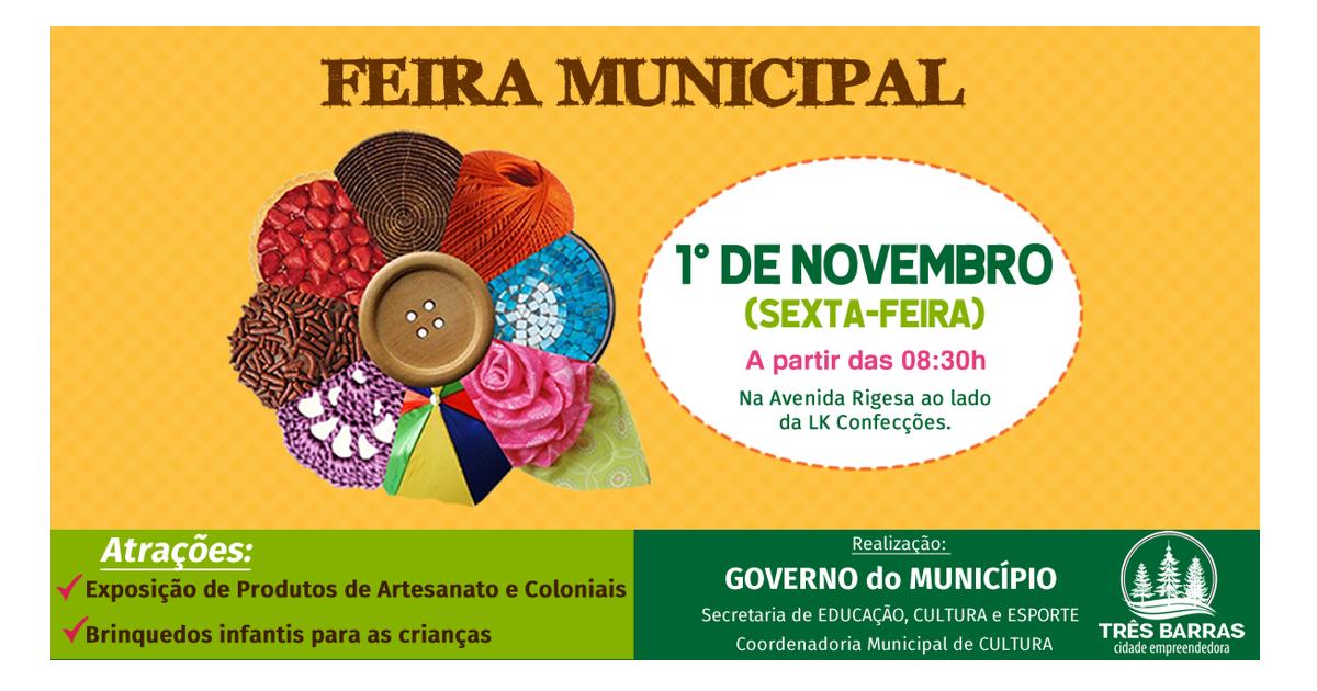 Atenção: Feira Municipal de novembro foi antecipada para esta sexta-feira, dia 1°