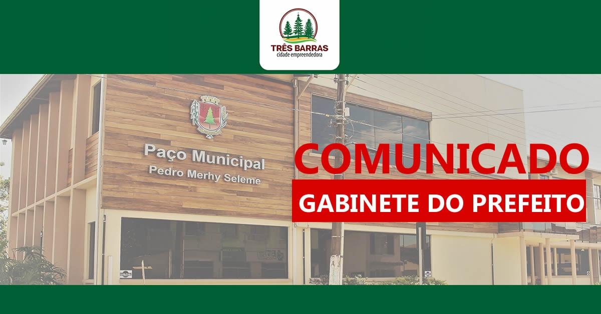 Atenção: nesta quarta-feira não haverá atendimento do prefeito à comunidade