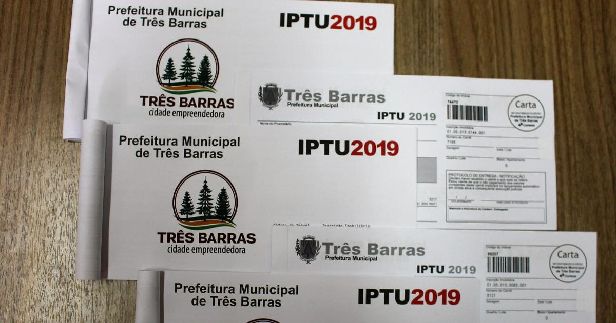 Começa a entrega dos carnês do IPTU 2019 em Três Barras