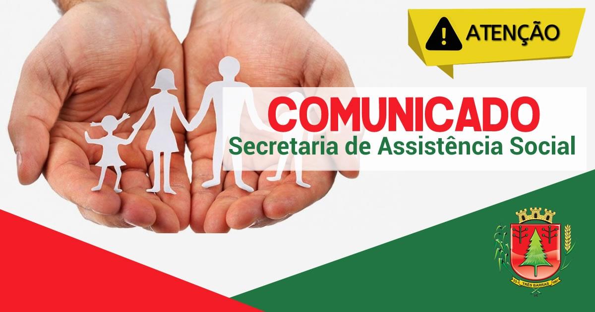 COMUNICADO: A ASSISTÊNCIA SOCIAL DE TRÊS BARRAS SOLICITA A PRESENÇA DE ALGUNS MUNÍCIPES PARA TRATAR DE ASSUNTOS PESSOAIS