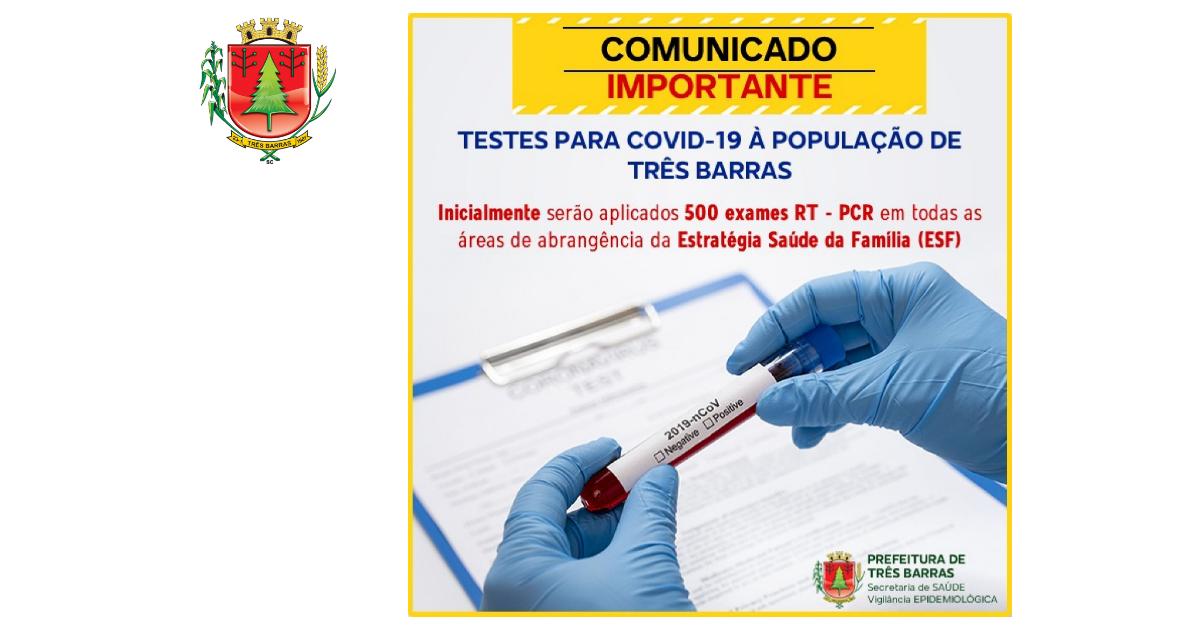 Coronavírus: Três Barras inicia testagem da população nesta quarta-feira