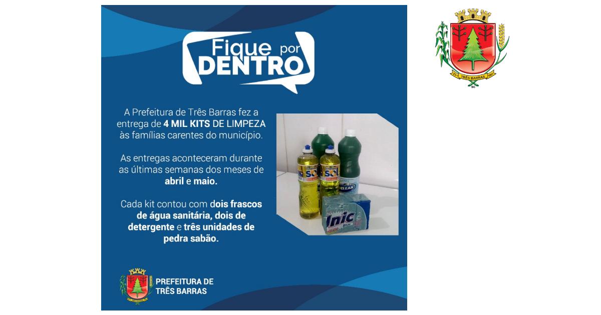 Covid-19: Prefeitura de Três Barras distribuiu 4 mil kits de limpeza às famílias carentes
