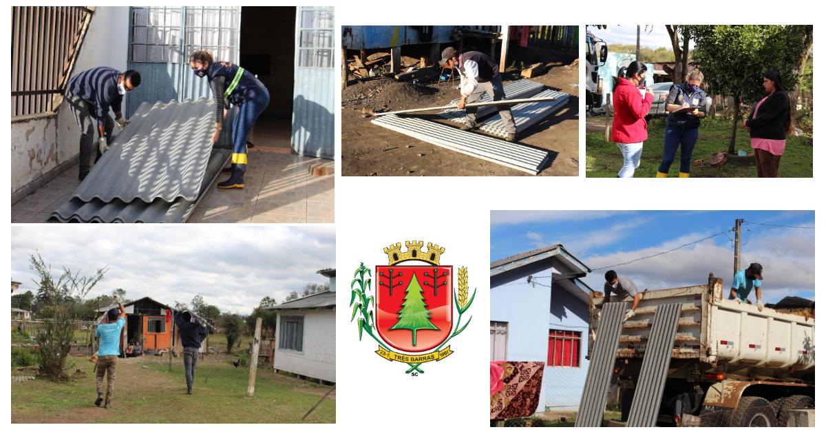 Defesa Civil já entregou 830 unidades de telhas de fibrocimento aos afetados pelo vendaval em Três Barras