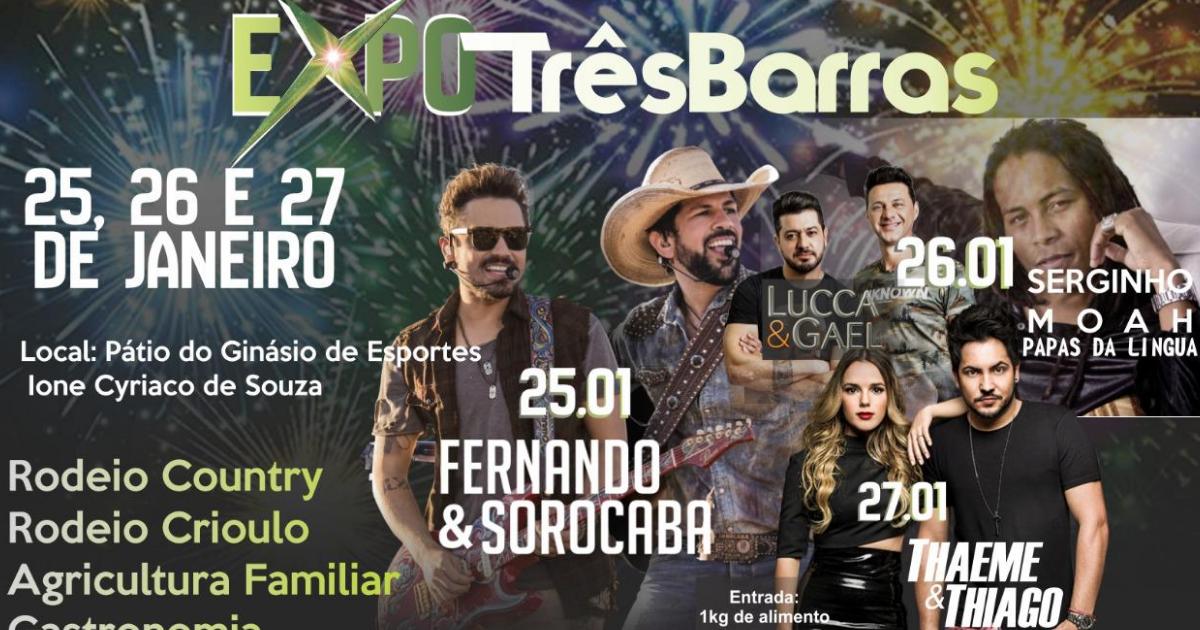 Expo Três Barras terá shows nacionais, rodeios crioulo e country e músicos locais