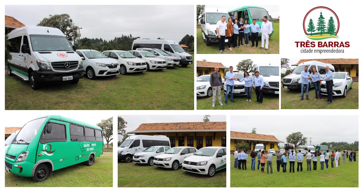 Governo de Três Barras incorpora seis novos veículos para auxiliar nos atendimentos à população