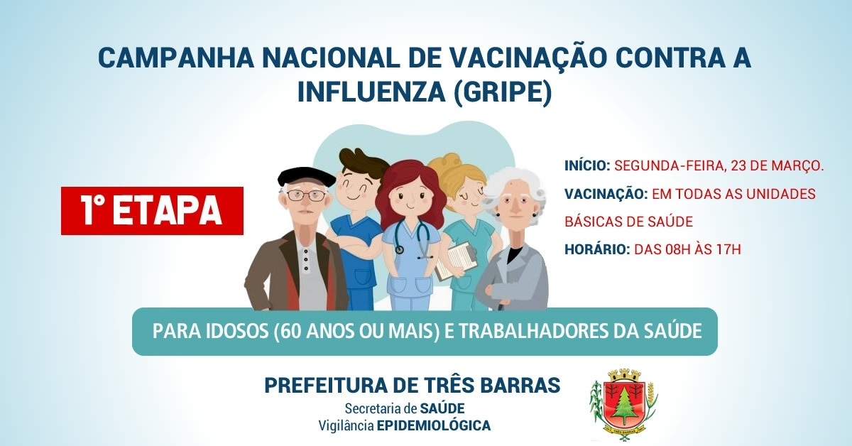 Influenza: idosos e trabalhadores da saúde podem se vacinar a partir de segunda-feira