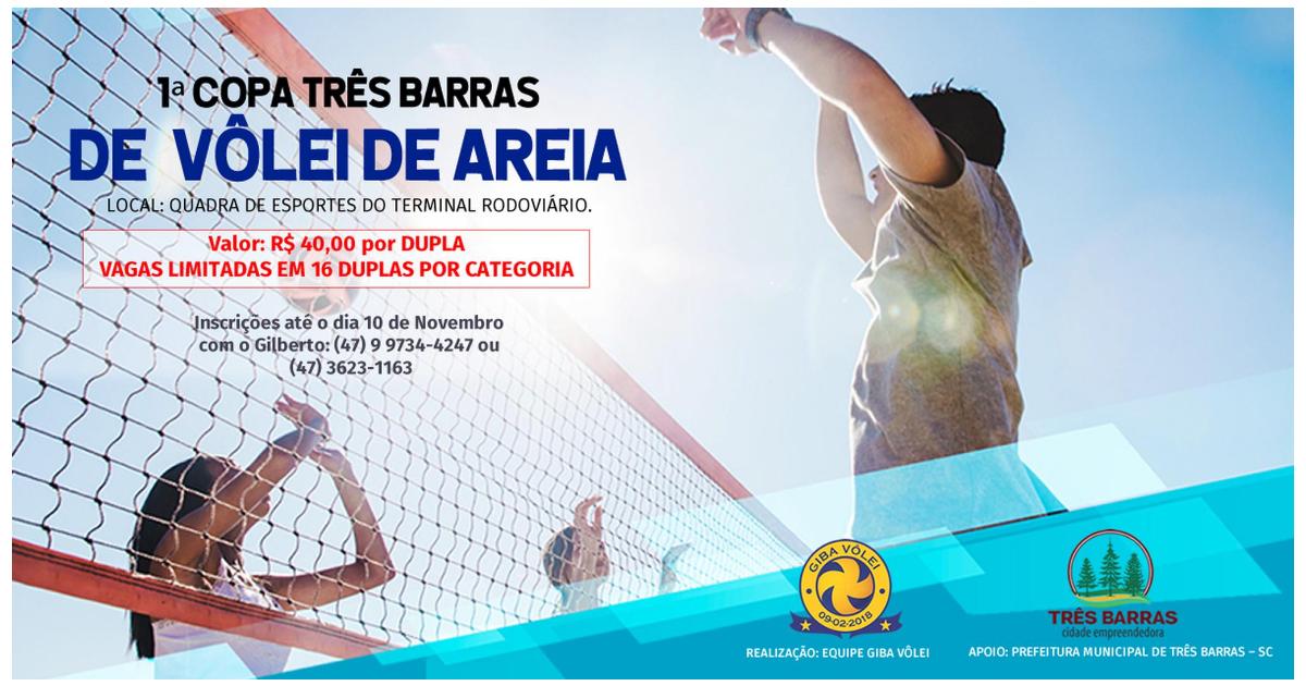 Inscrições abertas para a 1ª Copa Três Barras de Vôlei de Areia