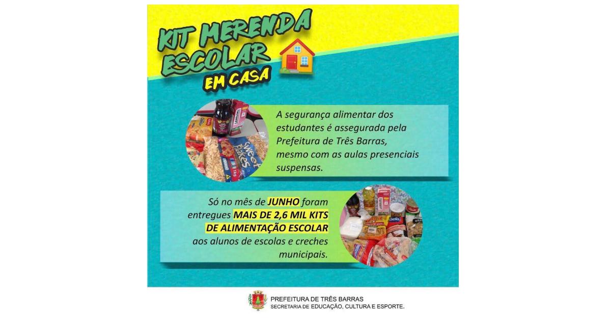Kits de merenda escolar foram entregues a mais de 2,6 mil famílias de estudantes em junho