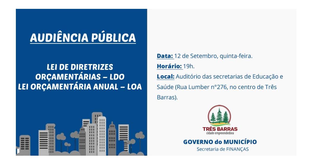 LDO e LOA serão debatidas em audiência pública nesta quinta-feira