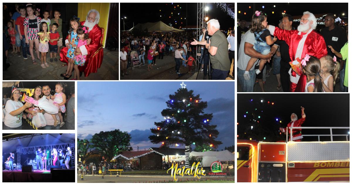 Mais de cinco mil pessoas prestigiam festa do Natal Luz no centro de Três Barras