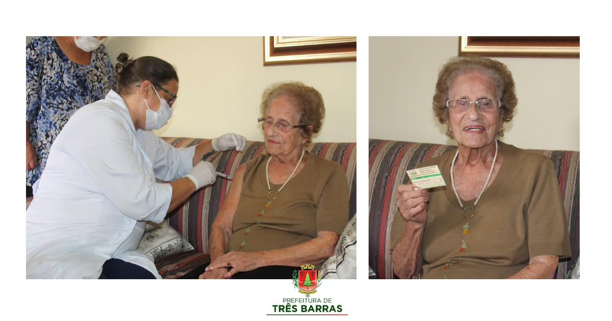 Mulher de 100 anos é a primeira idosa vacinada contra a covid-19 em Três Barras