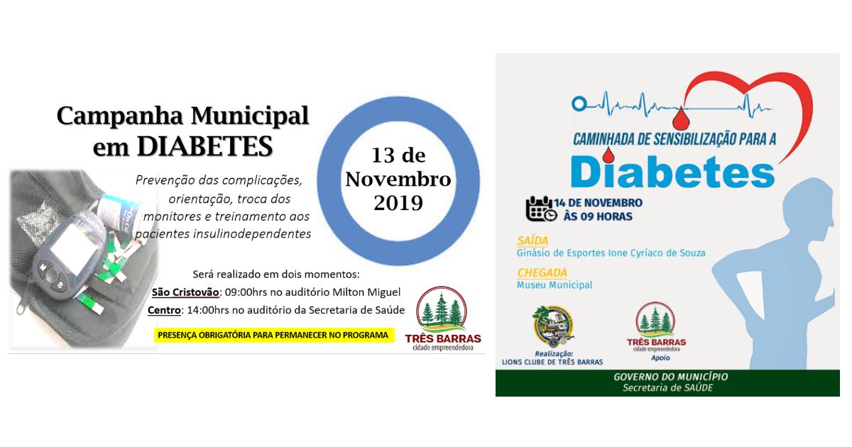 Município de Três Barras terá orientações e caminhada alusivas ao Dia Mundial do Diabetes