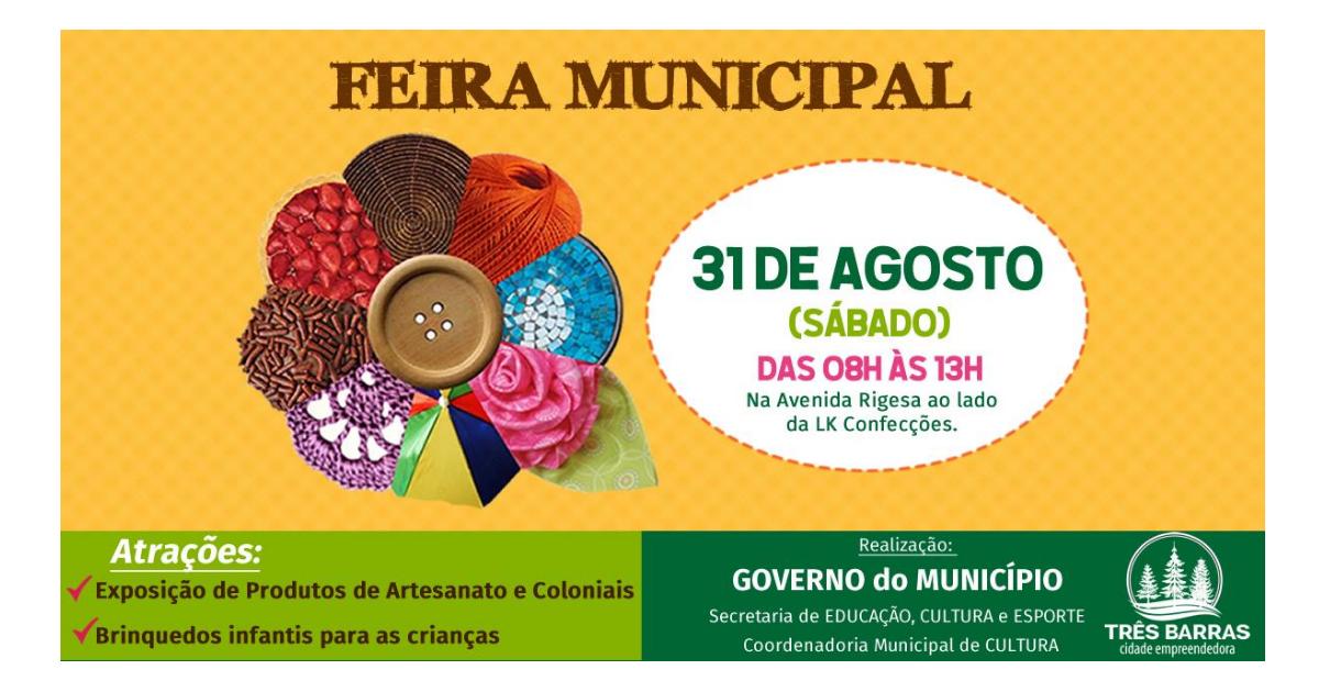 Neste sábado tem mais uma edição da Feira Municipal de Artesanato e Produtos Coloniais