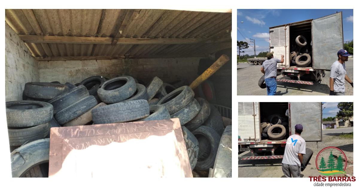 Prefeitura realiza coleta de 150 pneus em desuso no distrito de São Cristóvão
