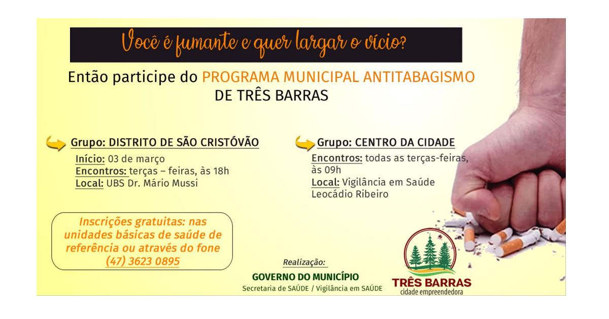 Programa Antitabagismo abre inscrições para grupo no distrito de São Cristóvão