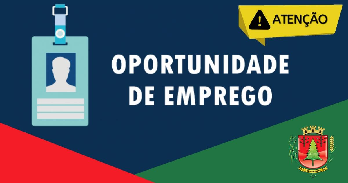 SINE de Três Barras dispõe de três novas oportunidades de trabalho