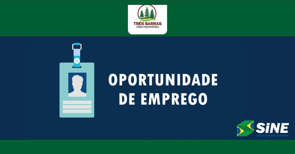 Sine de Três Barras intermedia a contratação de profissionais para vagas de Servente de Obras