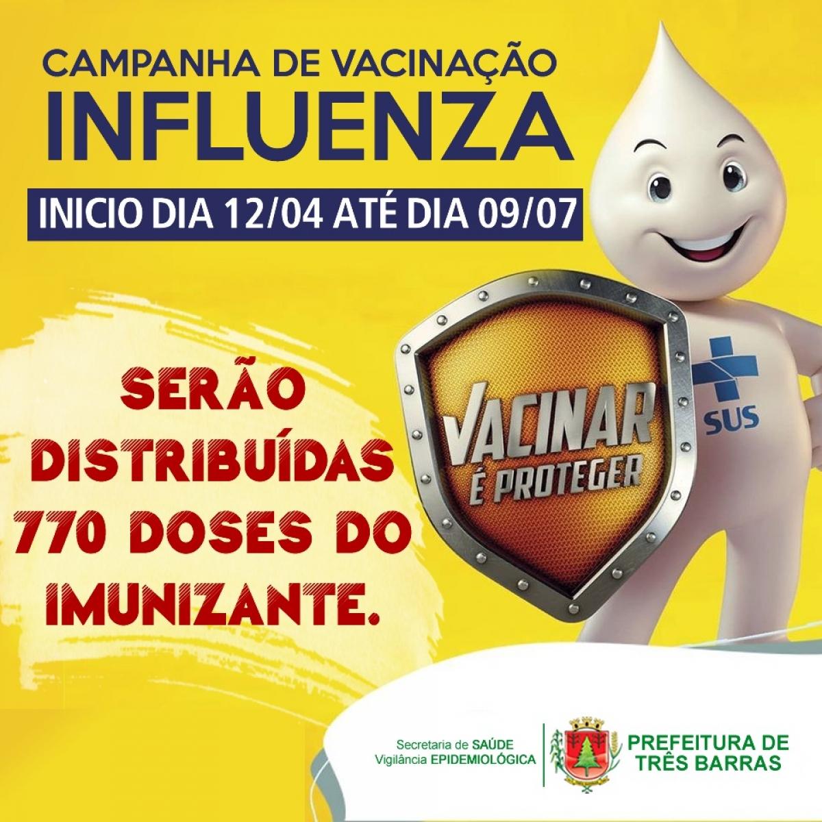 TRÊS BARRAS INICIA NESTA SEGUNDA-FEIRA A CAMPANHA DE VACINAÇÃO CONTRA GRIPE