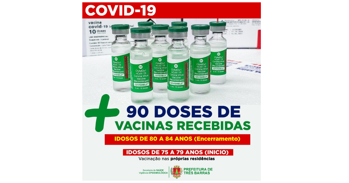 Três Barras finalizará vacinação de idosos entre 80 e 84 anos e iniciará público entre 75 e 79 anos