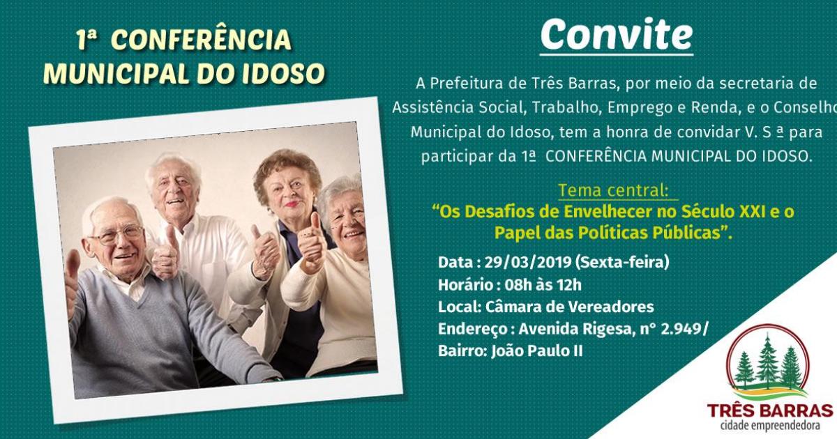 Três Barras promove 1ª Conferência Municipal do Idoso nesta sexta-feira