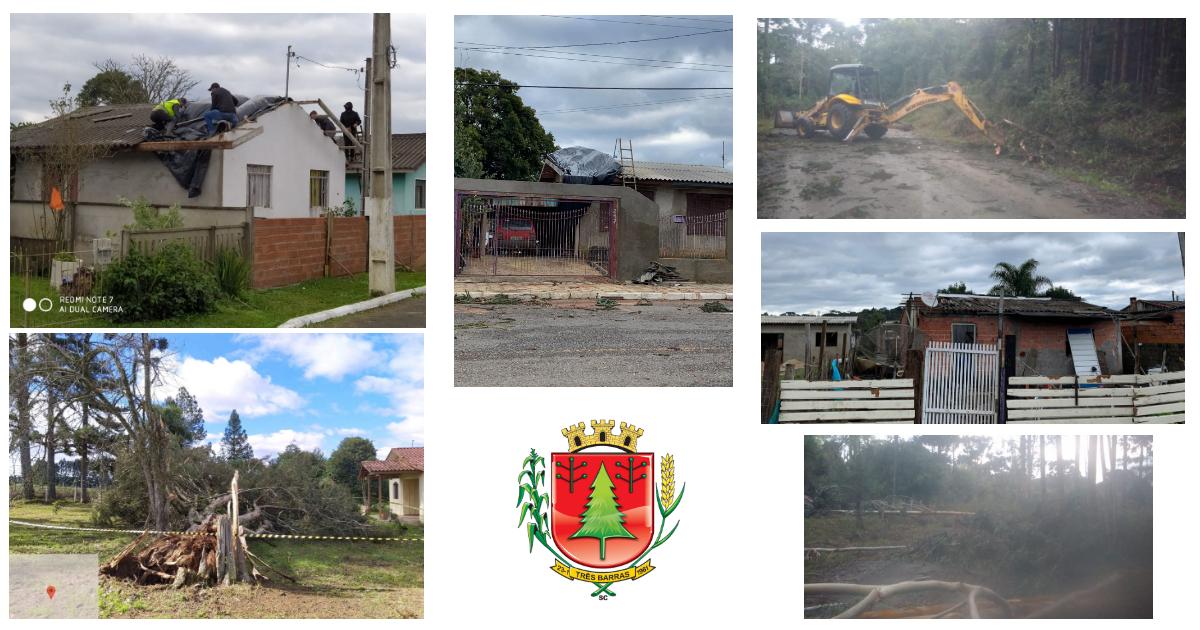 Vendaval derruba árvores e causa destelhamento em 42 casas de Três Barras