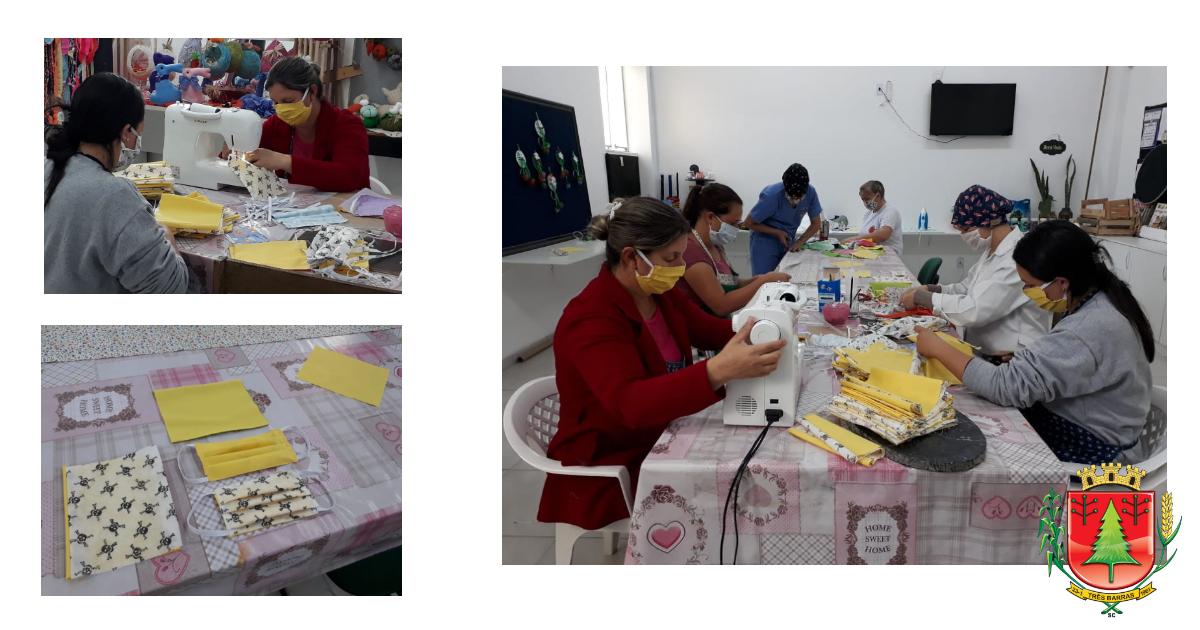 Voluntários trabalham na confecção de máscaras caseiras em Três Barras