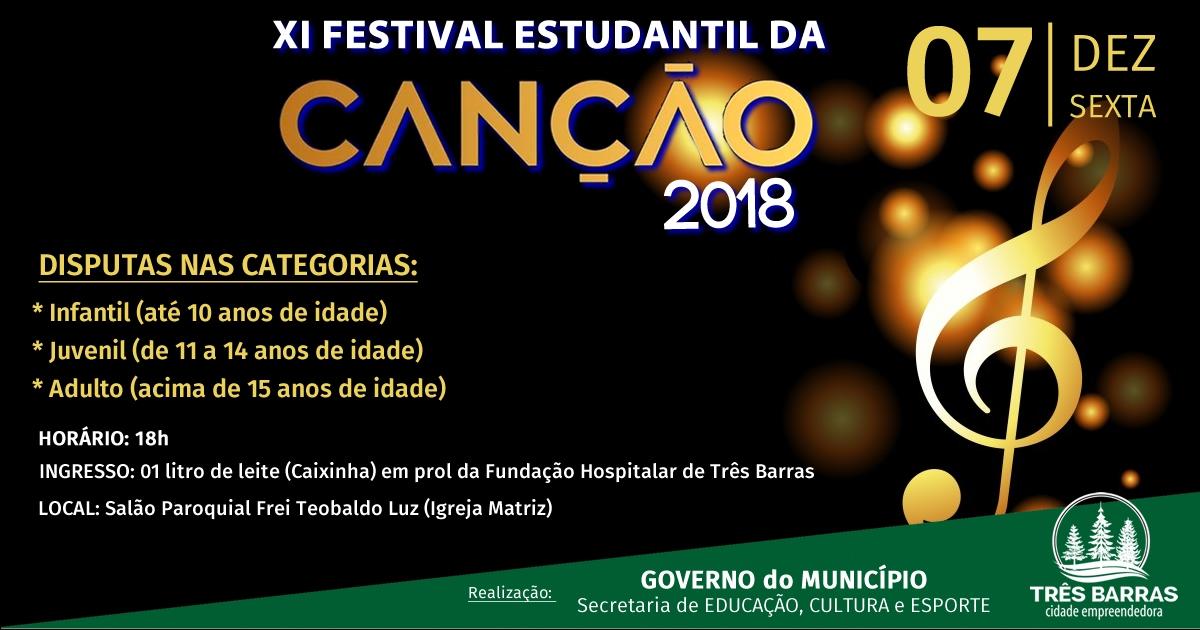 XI Festival Estudantil da Canção reunirá talentos musicais no dia 07 de dezembro